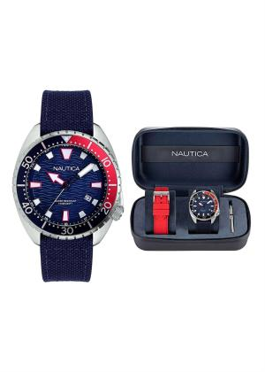 NAUTICA Gents Wrist Watch Model HAMMOCK Special Pack + Extra Strap NAPHAS905