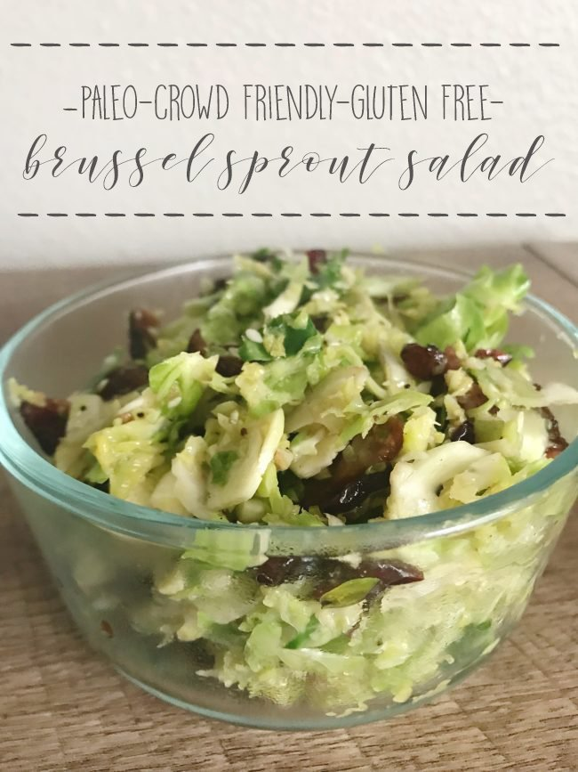 Need a new side to spice up your next dinner? This sweet and savory brussel sprout salad is a great way to add interest to any meal! #paleorecipes #cleaneating