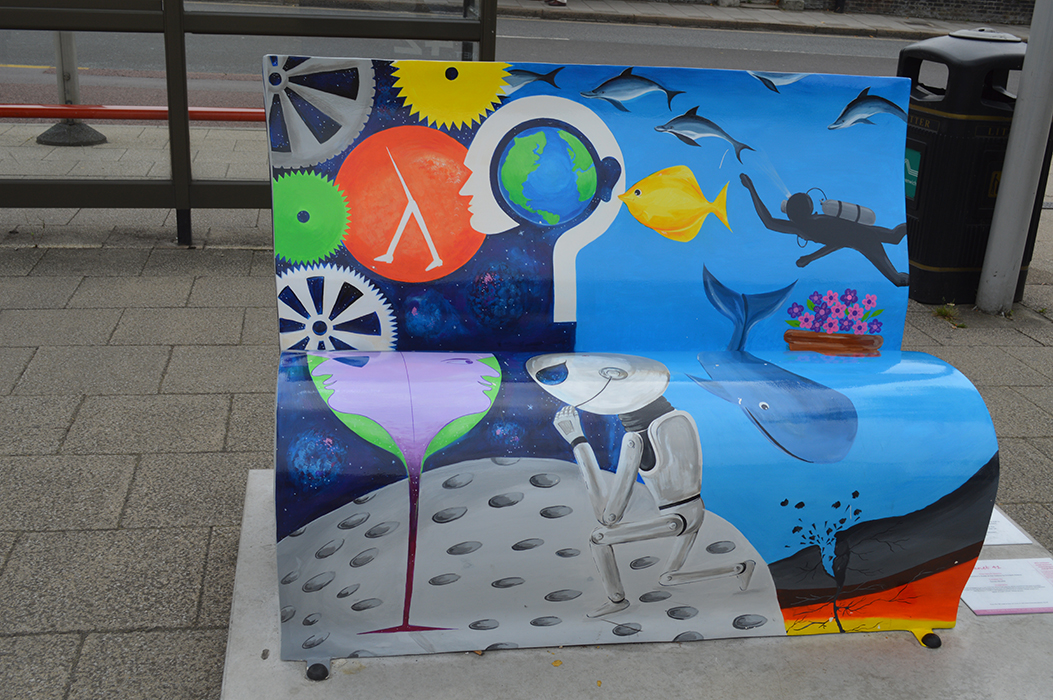 The front of the Hitchhikers' themed book bench that was in Greenwich (back of which is the featured image)