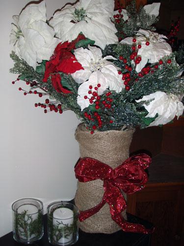 Burlap & Ribbon Vase Wrap