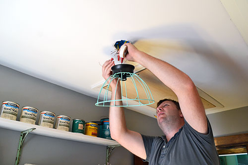 Installing DIY Cage Light Fixture