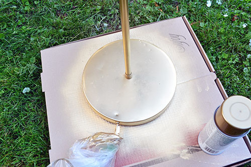 Spray Painting Brass Lamp