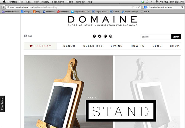 Roostic iPad Stand Featured On Domaine Home 2013