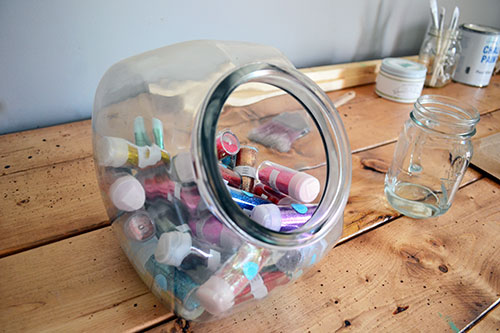 Glitter Collection In A Glass Jar