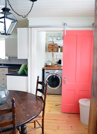 White And Wood Laundry Room