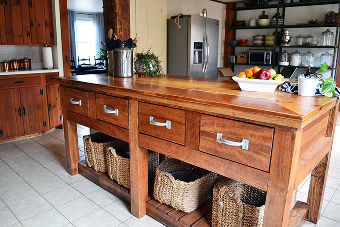 meet our rustic kitchen island
