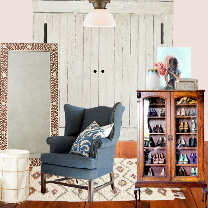 Master walkin closet design plan with denim upholstered chair