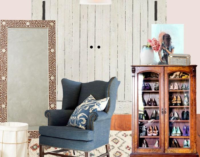 Master walkin closet design plan with denim upholstered chair