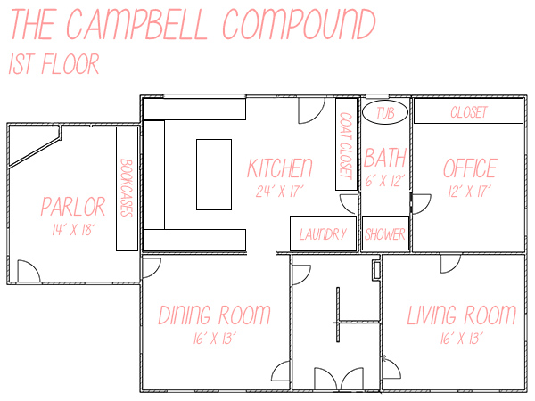 Floor plan for master renovation plans of the first floor of a vintage 1781 farmhouse