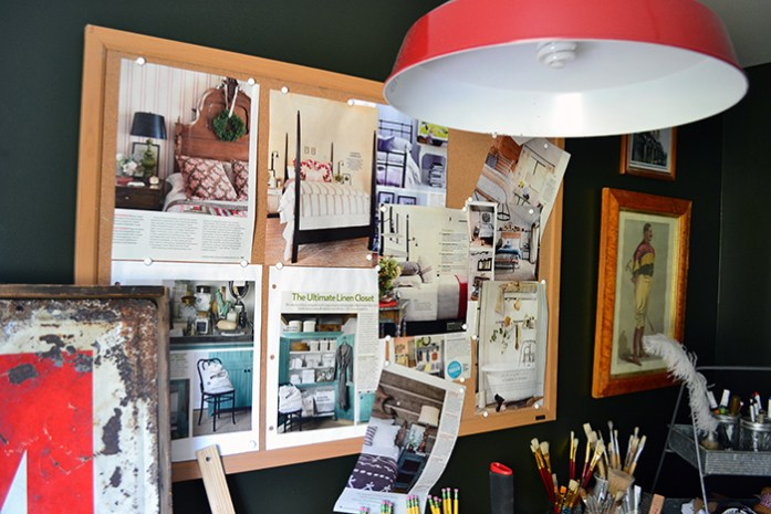 A project inspiration pin board in a craft room