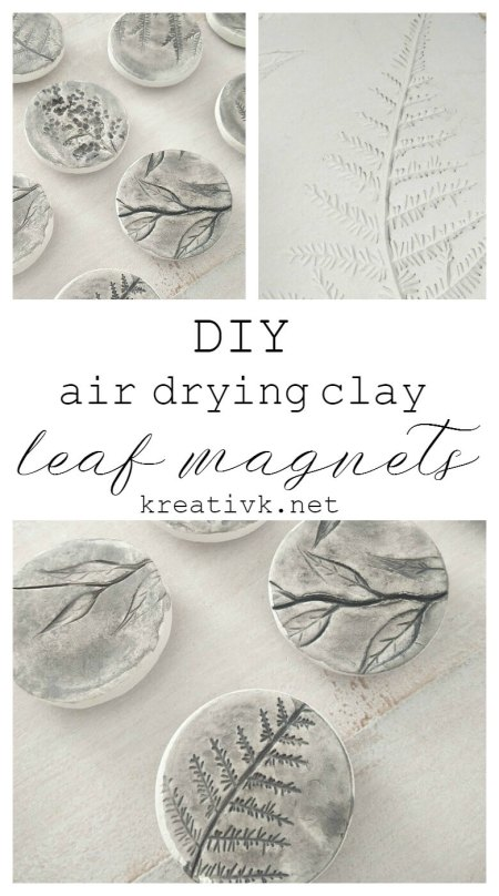 DIY Air Drying Clay Leaf Magnets - KreativK