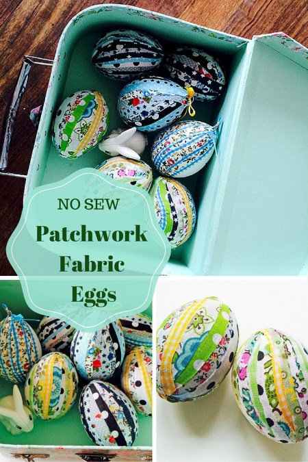 No Sew Patchwork Fabric Easter Egg - Pillar Box Blue