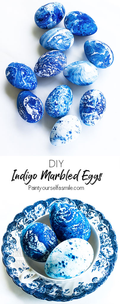 DIY Indigo Marbled Eggs - Paint Yourself A Smile