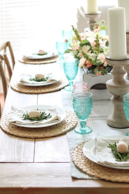Simple Spring Tablescape and Entry Way - The Turquoise Home