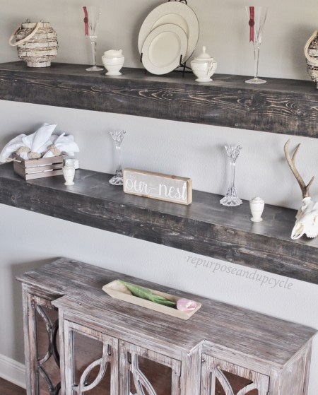 DIY Floating Dining Room Shelves | Repurpose and Upcycle