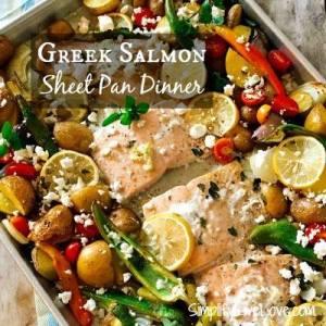 Greek Salmon Sheet Pan Dinner - SimplifyLiveLove
