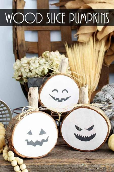 Wood Slice Pumpkins | DecoArt Blog