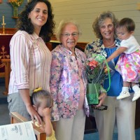 Four generations of  Jean Northey's family gathered with the parish to celebrate.