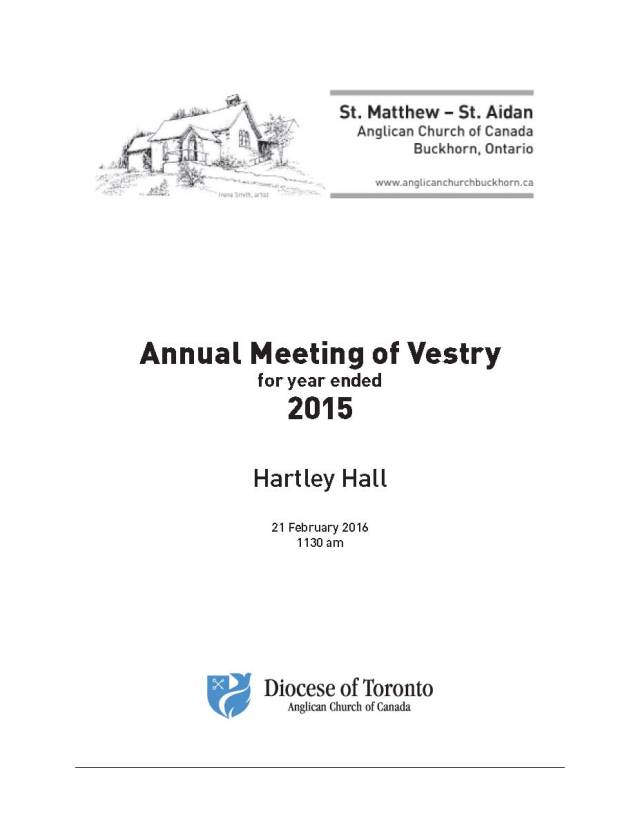 Cover- Parish Vestry Report for 2015 PRINT-A