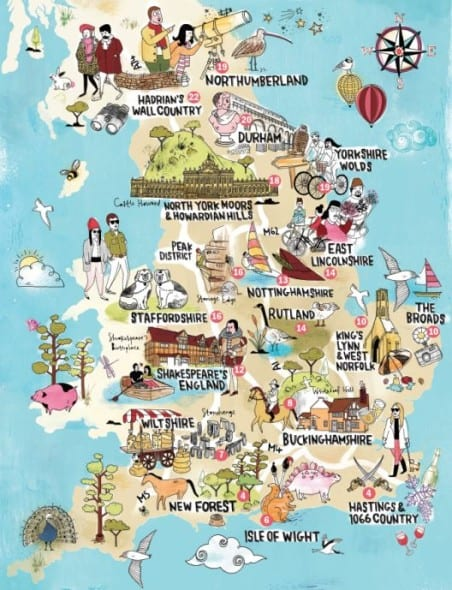 Map Of England Showing York.A Lovely Illustrated Map Of England Showing The Top Attractions
