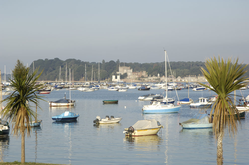 View of Brownsea Island and harbour