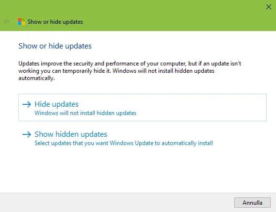 HIDE - Come impedire l'installazione di Windows 10 April 2018 Update?
