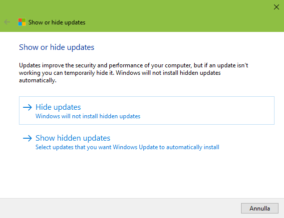 HIDE - Come ritardare l'installazione di Windows 10 October Update?