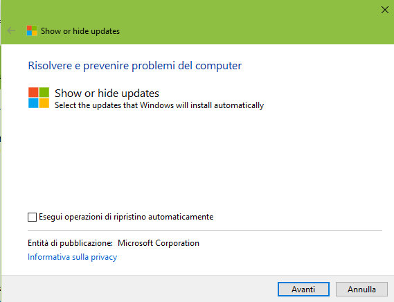 SHOW OR HIDE 1 - Come ritardare l'installazione di Windows 10 October Update?