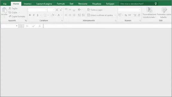 Schermata principale di Excel