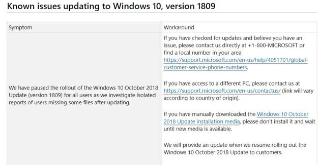 known problems - Bloccato il rilascio della versione 1809 di Windows 10
