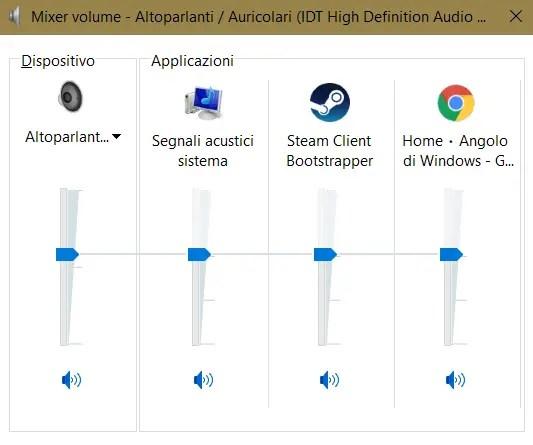 mixervolumeold - Mixer audio rinnovato per la prossima versione di Windows 10