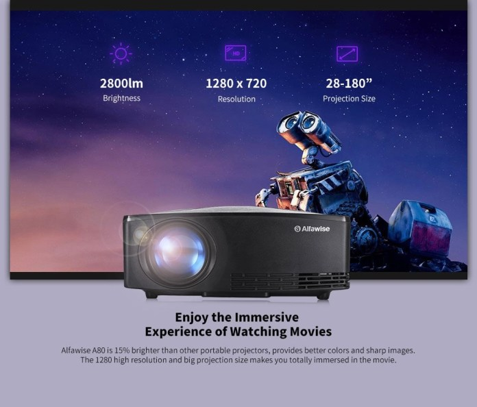 Alfawise A80 HD Projector brightness