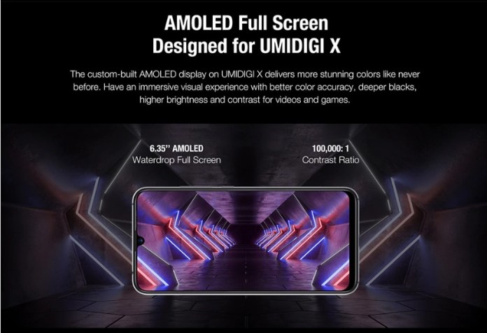 Umidigi X in display