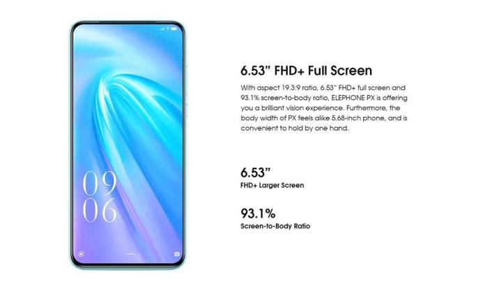 elephone PX screen
