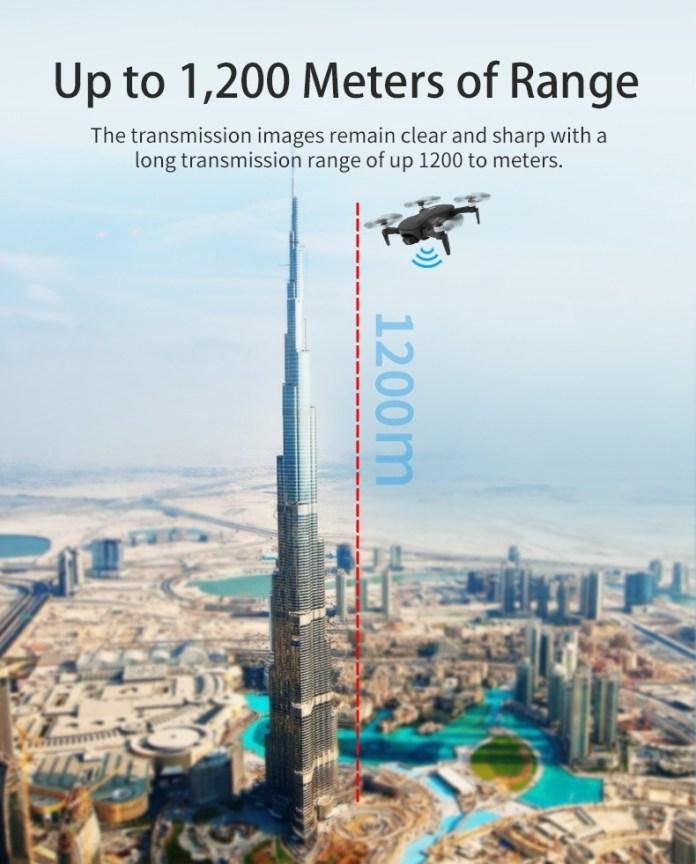 jjrc X12 GPS Foldable Drone range
