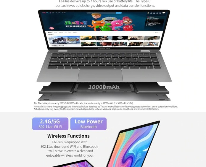 Teclast F6 Plus 360 degrees laptop Battery
