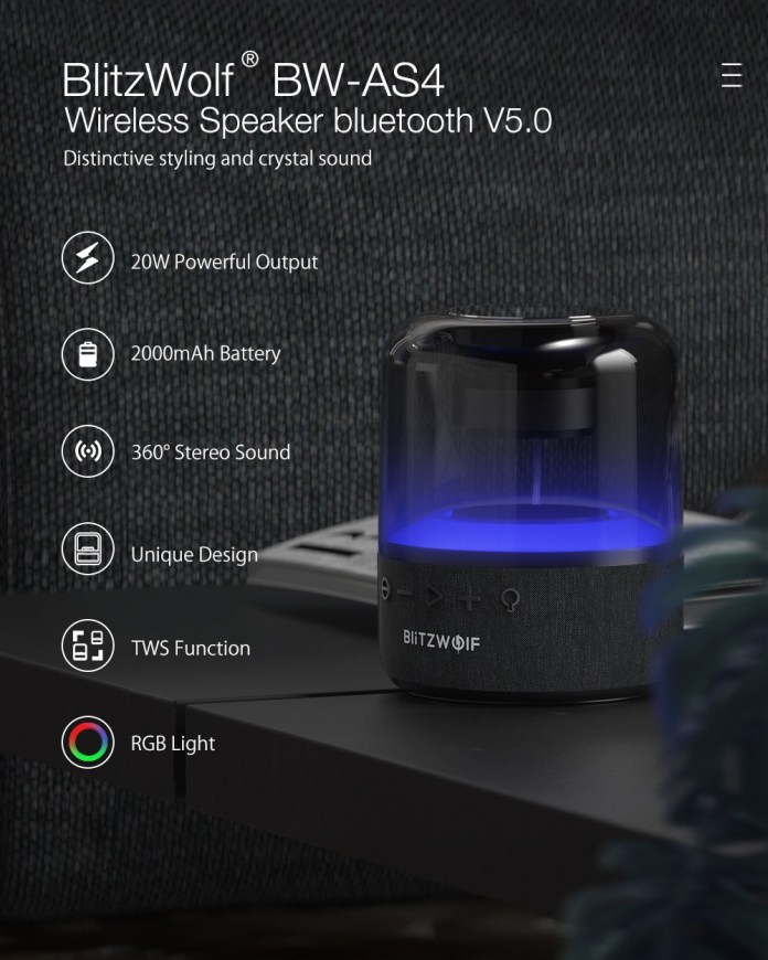 BlitzWolf BW-AS4 20W Wireless Speaker bluetooth 5.0 with 360°Stereo Sound