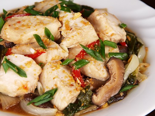 Braised Fish in Baby Bok Choy and Shiitake