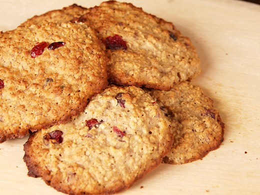 Honey Banana and Cranberry Oat Cookies