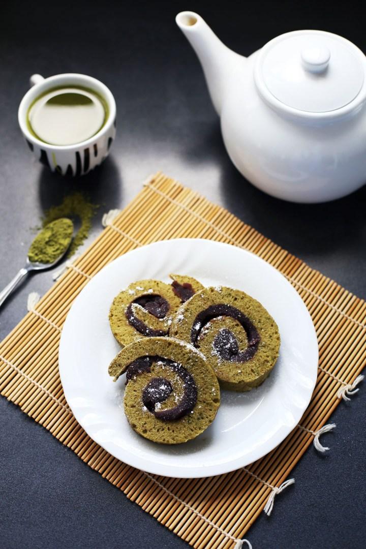 Matcha and Adzuki Bean Roll Cake
