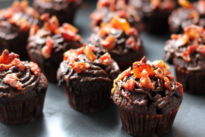 Bacon and Chocolate Cupcakes with Nutella Ganache Wide