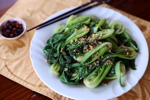 Stir Fried Bok Choy and Minced Pork 1