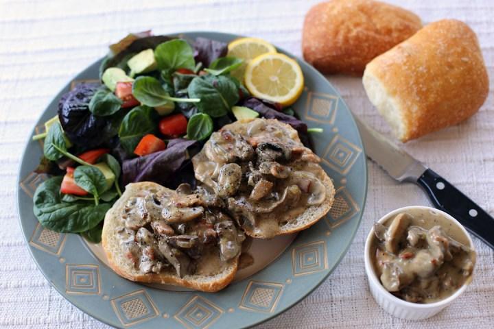 Creamy Mushroom, Chicken Livers and Pancetta in Ciabatta Wide