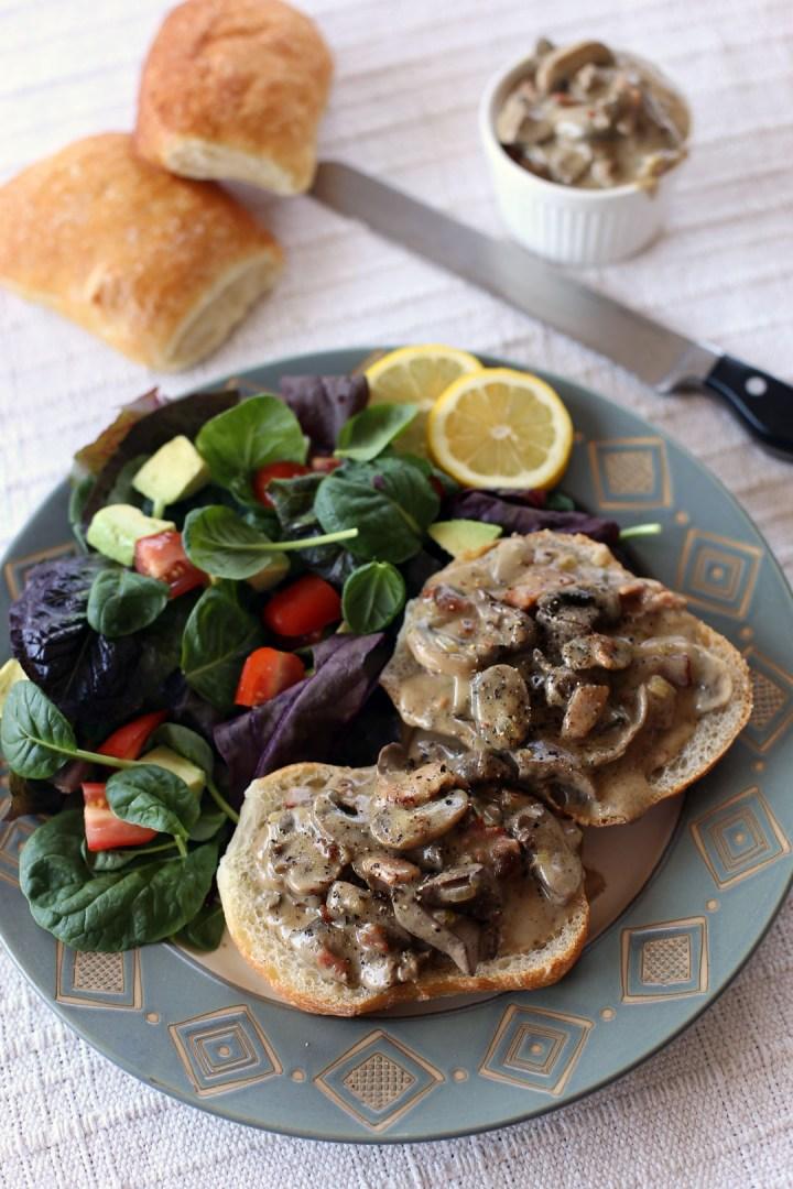 Creamy Mushroom, Chicken Livers and Pancetta in Ciabatta
