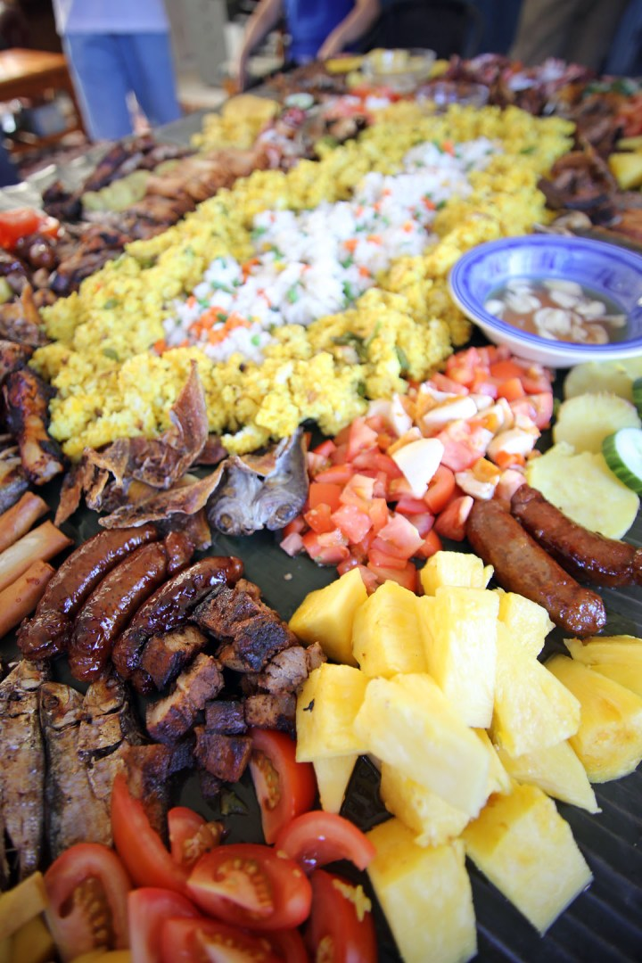Boodle Fight Close Up shot of Food Spread