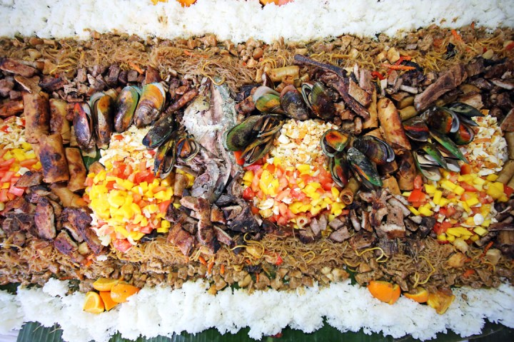 Boodle Fight Food Spread, Kamayan Style