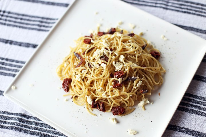Spicy Tuyo Pasta with Kesong Puti and Sundried Tomatoes Wide
