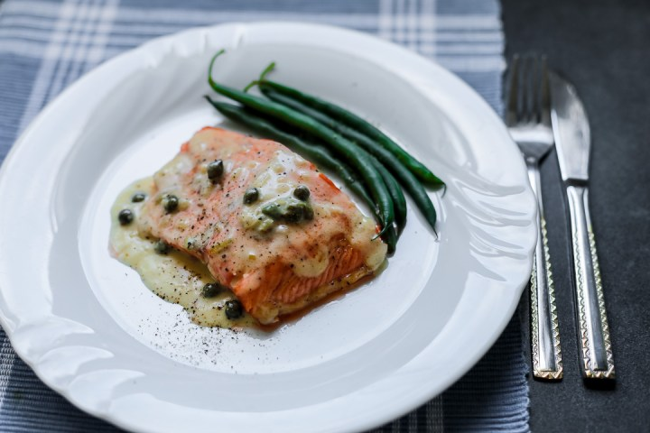 Salmon With Lemon Butter Caper Sauce Wide