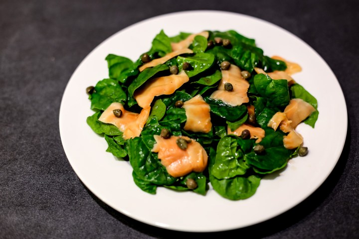 Smoked Salmon and Spinach Salad Wide