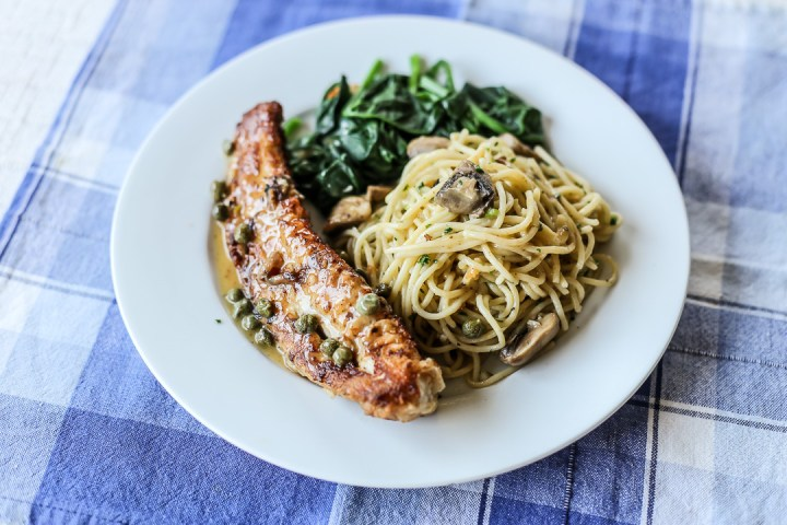 Fish Piccatta with Thin Pasta and Wilted Spinach Wide